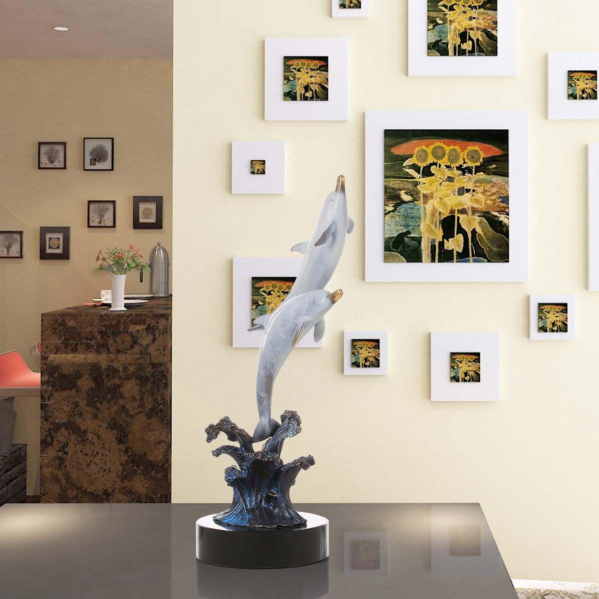 Нежный домашний декор Скульптура морской существо дельфин из воды Ручной Бронзовый Скульптура современный Книги по искусству Статуя Фигур