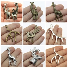 Christmas Deer  Head Decor Mix Charms For Jewelry Making Accessories Diy Craft Supplies Mother And Son