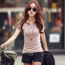 New Fashion T-Shirt For Women Casual Stretch Slim Solid Color Thin Lapel Short-Sleeved Cotton Bottoming Shirt Female