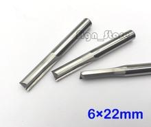5 قطع 6*22 ملليمتر اثنين من المزامير مستقيم بت ، الخشب القواطع ، CNC الصلبة كربيد CNC راوتر بت ، راوتر القواطع