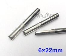 5 pces 6*22mm dois bocados retos das flautas, cortadores de madeira, bocado contínuo do roteador do cnc do carboneto, cortadores do roteador