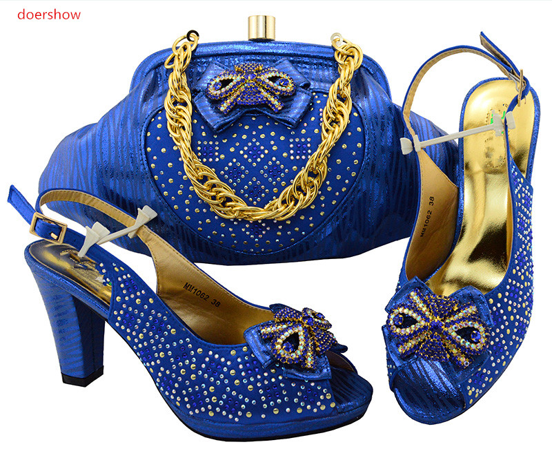 doershow Italian Shoes With Matching Bags Rhinestones blue High Quality African Shoes And Bags Set for Wedding SIU1-30 2016 italian shoes with matching bags for party high quality african shoes and bags set for wedding