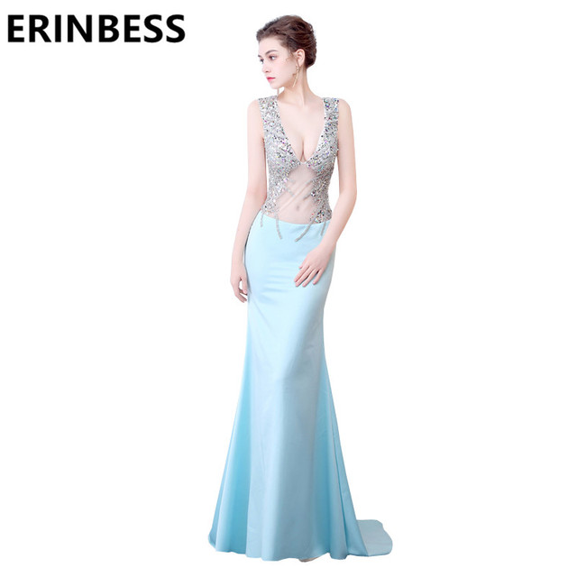Light Sky Blue Mermaid Evening Dresses See Through V Neck Beaded Rhinestone  Long Backless Prom Gowns For Women 6ab4b60e9667