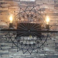 loft industry vintage wrought iron wall lamp ferris wheel Restaurant serving cafe decorated corridor wall lamp