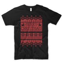 3ba28a0b7 Newest Funny Merry Christmas T Shirt Superb Xmas Pattern Jumper Skier  Reindeers Snow Stars Gift Men