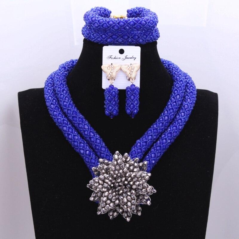 Retro Nigerian Beads Wedding Set Royal Blue Silver Flower Bridesmaid Bridal Necklace Earrings Jewelry Set Free Shipping