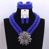 Retro Nigerian Beads Wedding Set Royal Blue Silver Flower Bridesmaid Bridal Necklace Earrings Jewelry Set Free Shipping