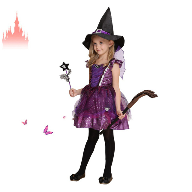 612df420fe42 Cosplay di Halloween Per Bambini Costumi Carino Strega Vestito Dalla  Principessa Con Il Nero Cappello della