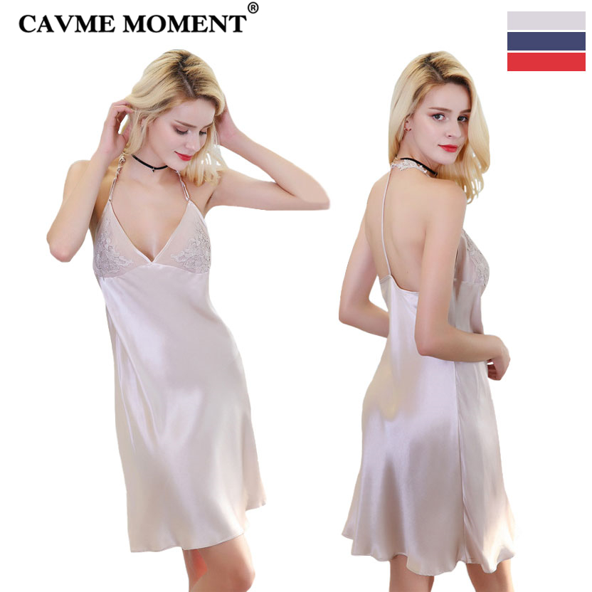 CAVME 2019 Summer Silk Sexy Lace   Nightgown     Sleepshirt   Plus Size Spaghetti Strap Nightdressing Sleepwear One Piece Solid Color