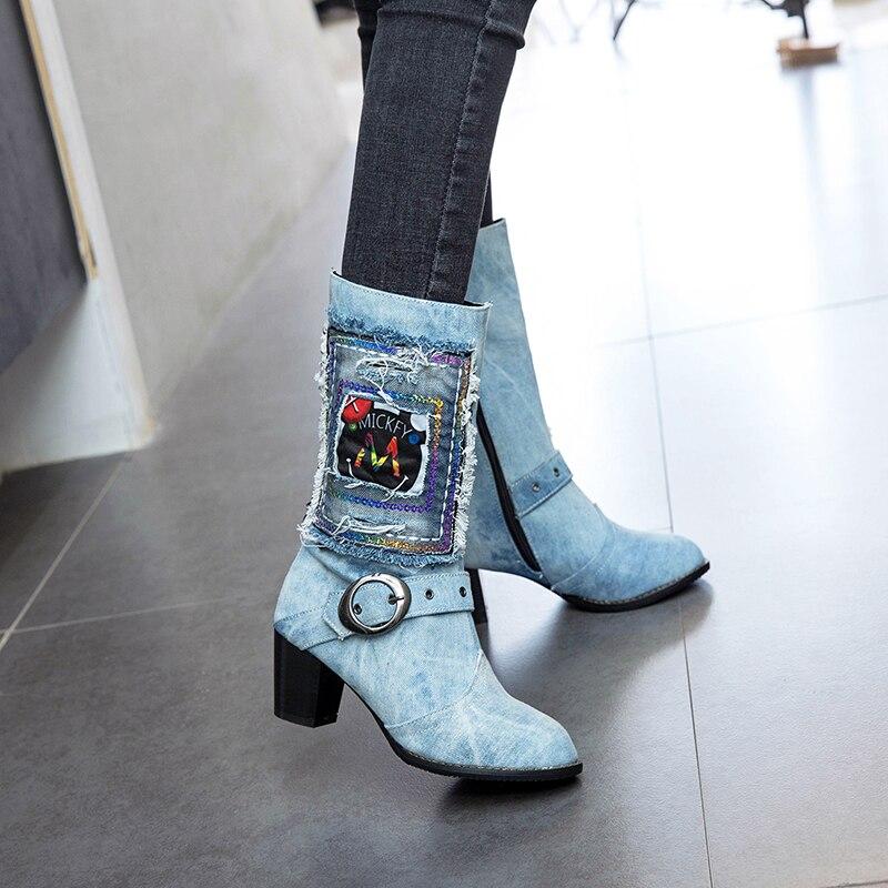 Mode Zip Broderie De Automne Hauts Talon Ciel pu Mi Gland Bleu Denim Hiver Talons Rimocy 2018 Femmes À Femme Épais mollet Chaussures Bottes qwvx5faE