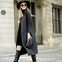 2019 Spring Autumn Women Real White Duck Down Parkas Female Long Down Coat Jacket Winter Warm Single Breasted Coat Parkas