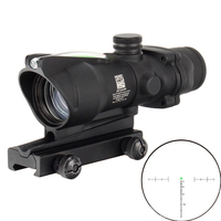 Hunting Riflescope ACOG 4X32 Real Red Green Fiber Optics Sight Illuminated Chevron Reticle Tactical Optical Sight with