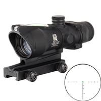 Hunting Riflescope ACOG 4X32 Real Red Green Fiber Optics Sight Illuminated Chevron Reticle Tactical Optical Sight with