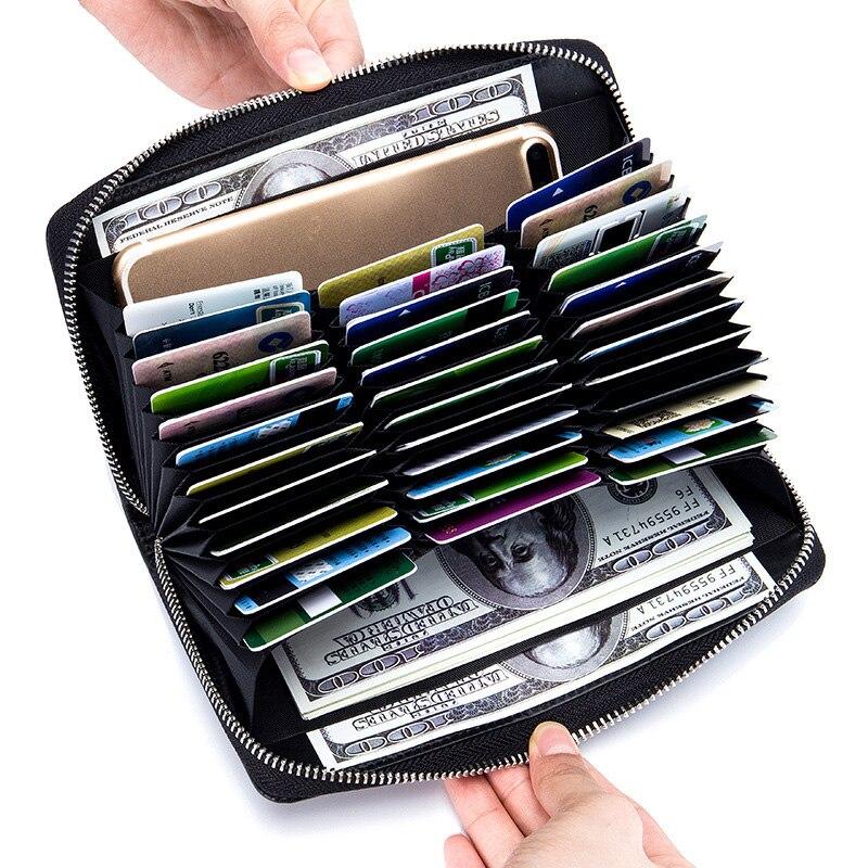 Unisex Card Holders Wallet Split Leather Man Business RFID Cards Wallet Large Capacity Women Credit Holders Purses
