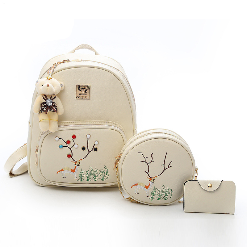 2018 Cute Deer 3 Pcs/Set Women Backpack Female School Bags Backpacks for Teenage Girls Shoulder Bag Fashion PU Leather Backpack hynes eagle 3 pcs set 3d letter bookbag boys backpacks school bags children shoulder bag mochila girls exo printing backpack