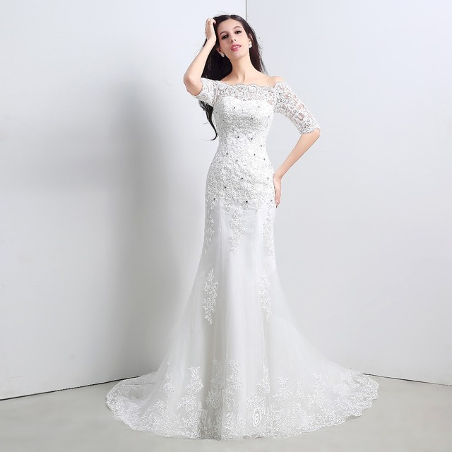 Real Picture Beteau Half Sleeve Mermaid Lace Applique Wedding Dresses Cheap  Bridal Dresses Vestido De Noiva Robe De Mariage 82de4a286867