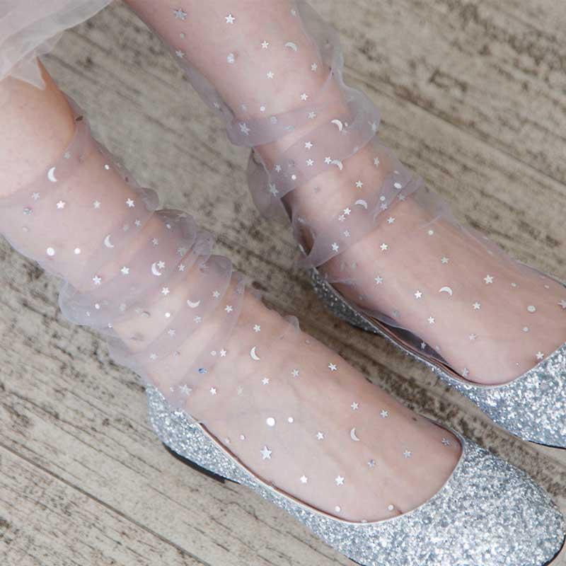 Unique Design Sequins Star Shiny Socks Female Fairy Transparent Short Harajuku Socks Women Modern Creative Thin Glitter Socks