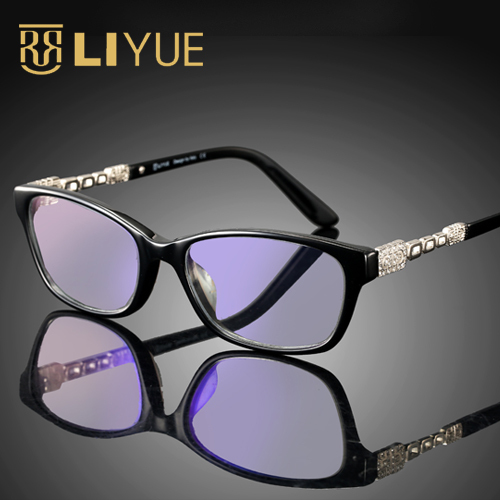 32ffd1baf37c LADY'S EYEGLASSES rhinestones optical eyewear frame with blue ray lens  computer glasses anti radiation and ultraviolet 4026-in Eyewear Frames from  Women's ...