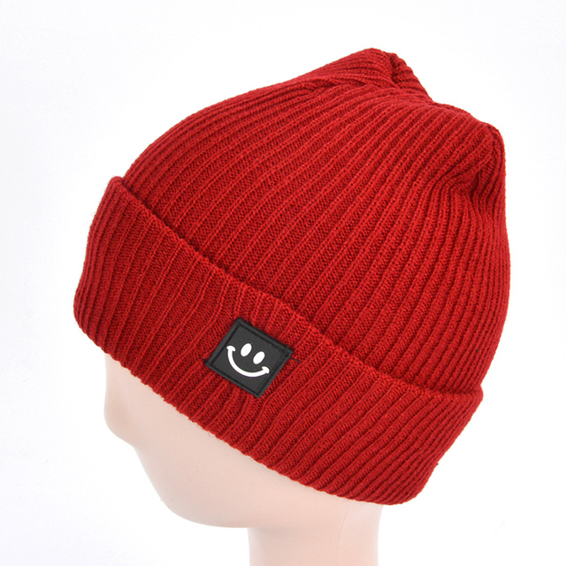 0c7d76226a2 Autumn Winter Knitted Wool Hat Solid Color Smile Patch Girls Boys Beanie  Casual Warm Cap