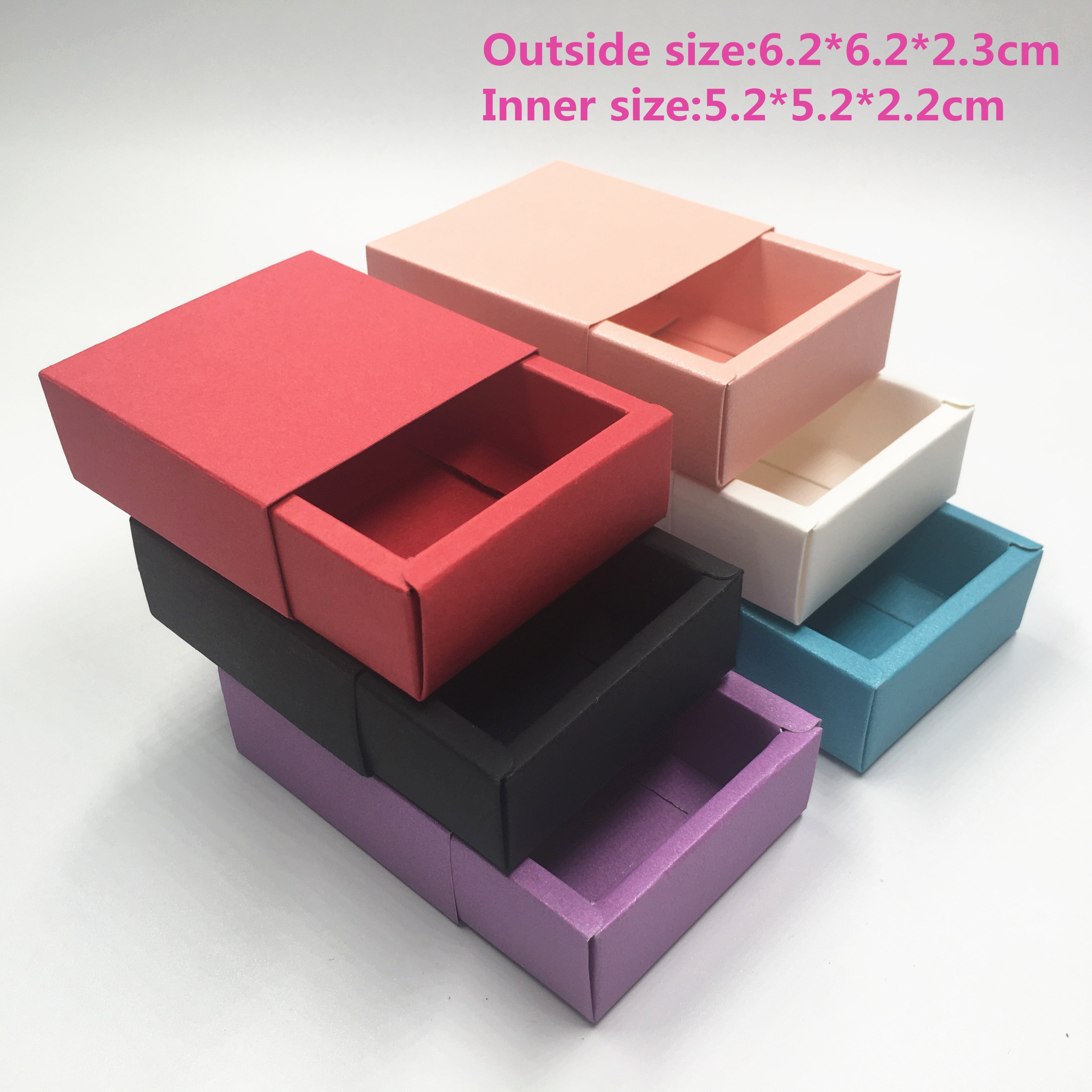 10pcs/lot Multi-size Colorful Cardboard Drawer Type Paper Box Jewelry  Gift Boxes Handmade Carton Folding Storage Box