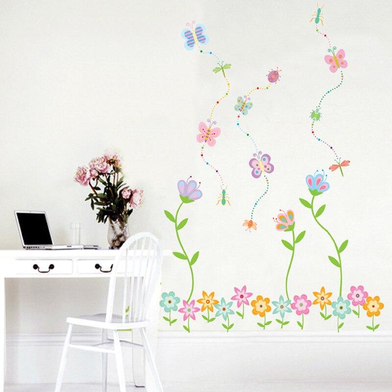 Садоводство цветы и растения Моделирование настенные декоративные наклейки спальня Цветы бабочки обои цветы богемный