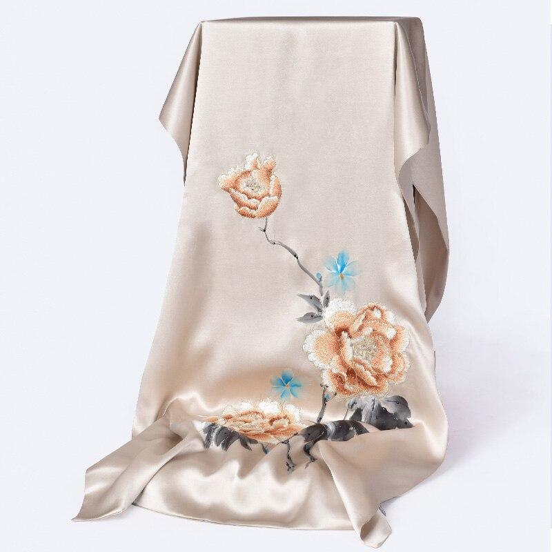 Double 100% foulard en soie pour femmes châles brodés à la main enveloppes foulards Design de luxe foulard Hangzhou foulard en soie pour dames