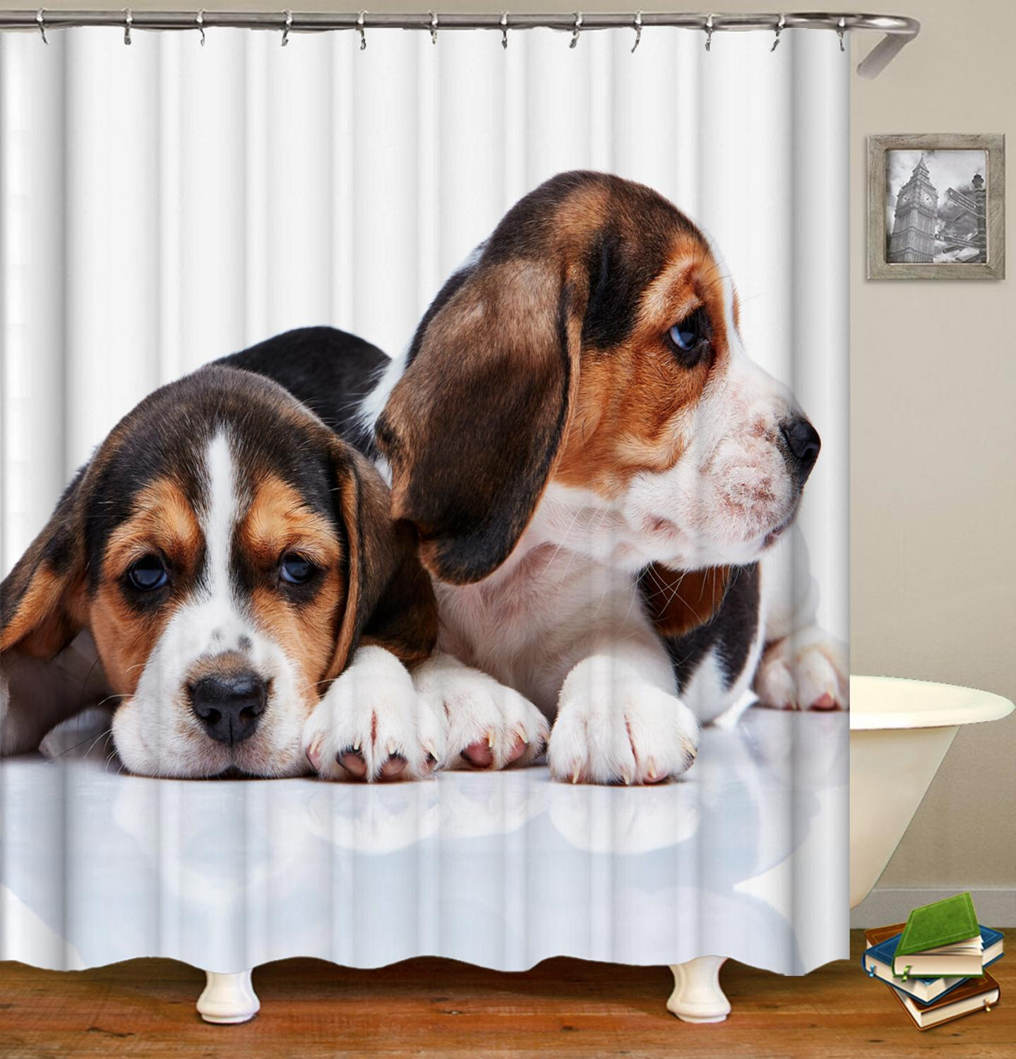 New Pet Dog Design Shower Curtains Animal modeling Bathroom Products Waterproof polyester shower curtain