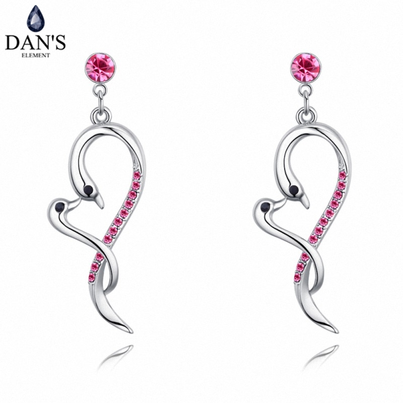 DANS 5 Colors Real Austrian crystals Stud earrings for women Earrings s New Sale Hot Round 128988