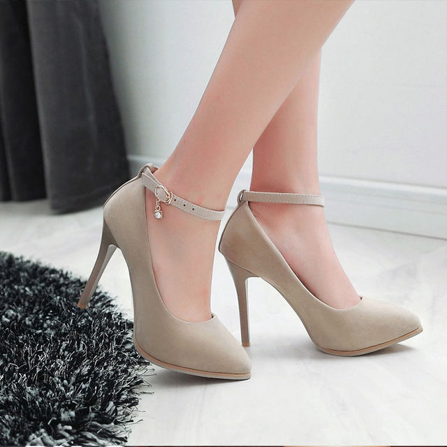 Online Shop Lasyarrow Suede Pumps Wedding Shoes Women Point Toe Red ... cb56cb47db3c