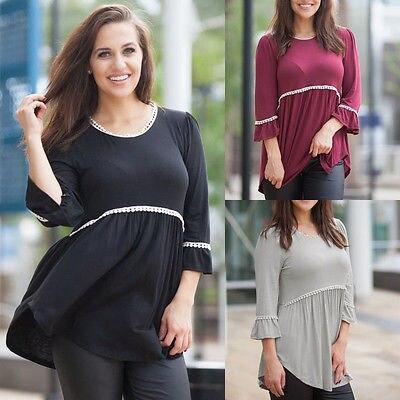 Fashion Womens Ladies Autumn Cotton 3/4 Sleeve Blouse Casual Tops Blouse