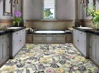 3d floor painting wallpaper Warm and beautiful flower pattern 3D fashion floor pvc floor wallpaper 3d flooring