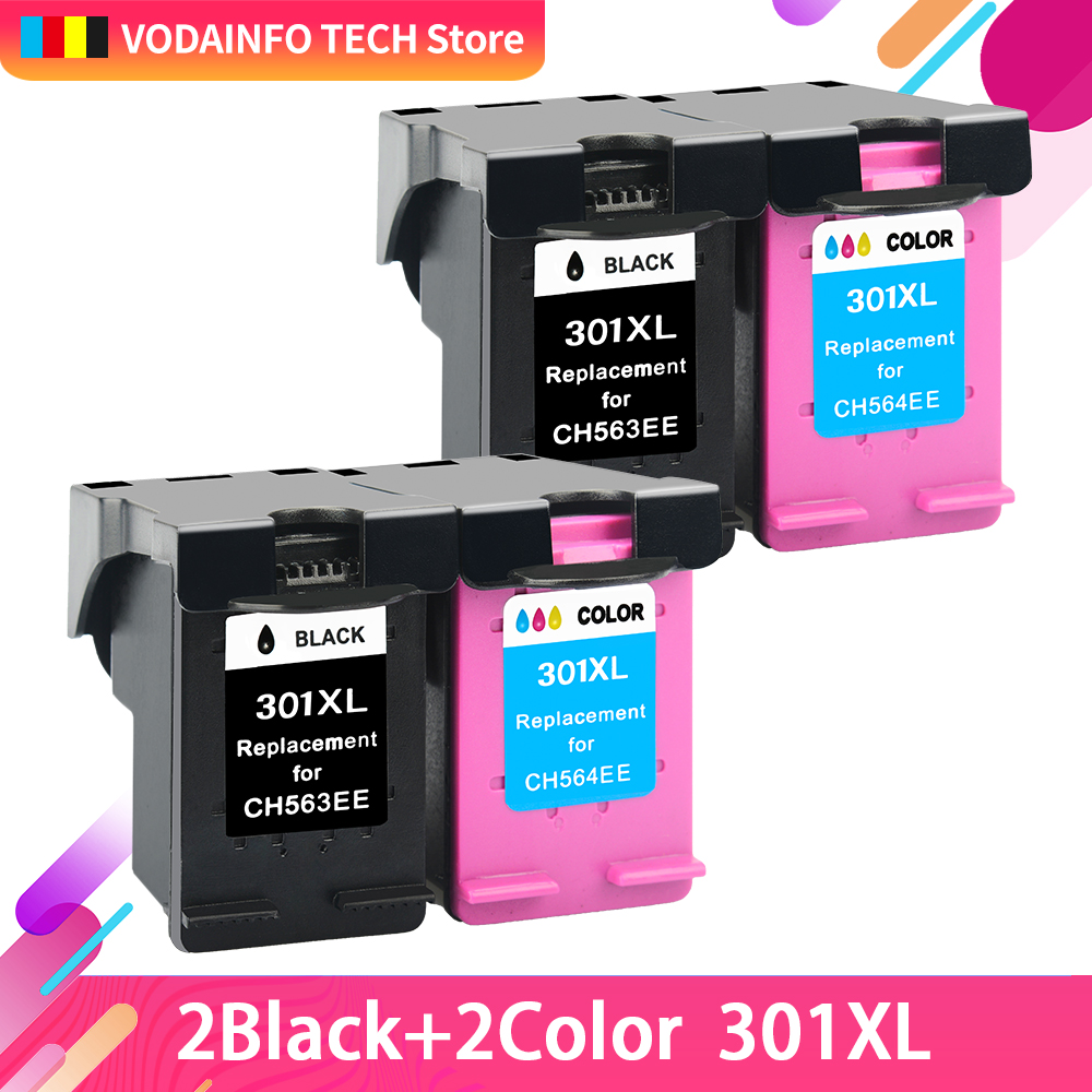 QSYRAINBOW 4PCS Remanufactured for HP301 HP 301 Ink cartridge for <font><b>HP301XL</b></font> DeskJet 1050 2050 2050s 2510 3510 D1010 1510 2540 image