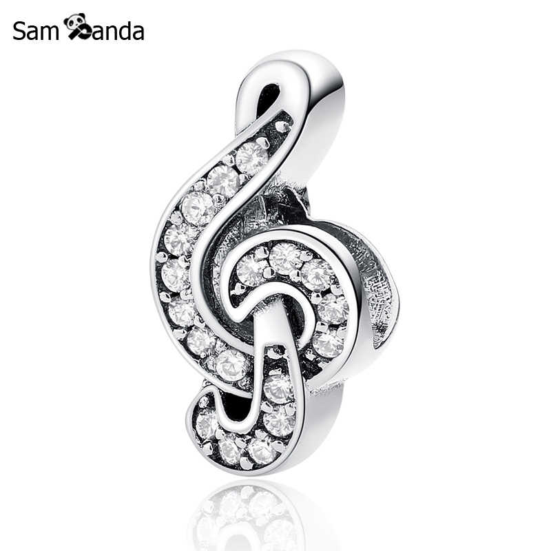 Authentic 100% 925 Sterling Silver Bead Charm Sweet Music Treble Clef Beads Fits Original Pandora Bracelets Women DIY Jewelry