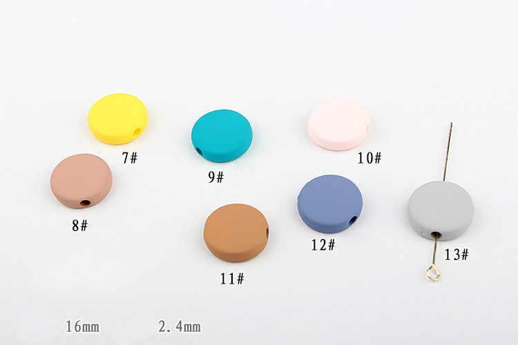 Phong Cách Macaron Màu Dòng Sơn Cao Su Thẳng Lỗ Tròn Nhỏ Dẹt Đính Hạt Phụ Kiện Cầm Tay DIY Hàn Phiên Bản Tóc Bông Tai