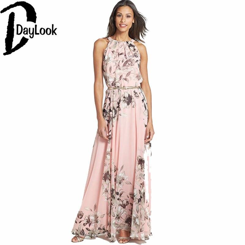 Daylook 2016 Summer Chiffon High Waist Long Dresses Halter Neckline Pink Floral Print Tie Waist Maxi Beach Dresses Vestidos