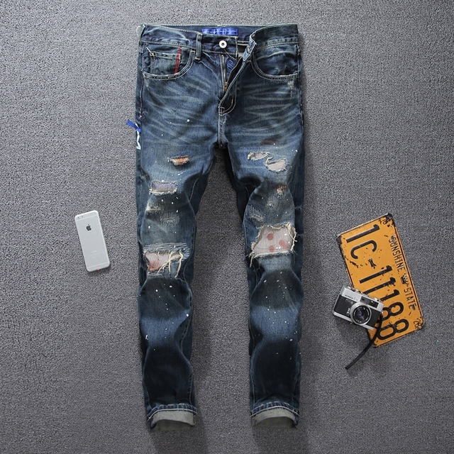 55ebd5c3a52 European American High Street Fashion Mens Jeans Brand Destroyed Ripped  Jeans For Men Beggar Pants Dirty Biker Jeans Blue Color