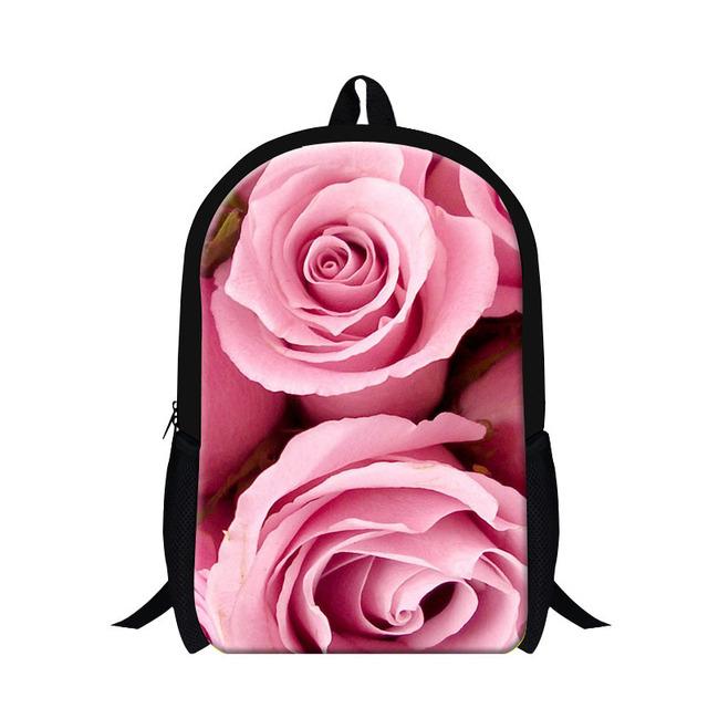 2017 de la flor 3d school for girls Bookbag lindo para niños, adolescente back pack pink rose imprimir mochila mochilero bolsa día paquete