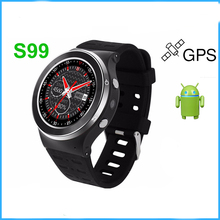 Original ZGPAX S99 GSM 3G Quad Core Android 5.1 Smart Watch With 5.0 MP Camera GPS Bluetooth 4.0 512MB RAM 8GB ROM Heart Rate.