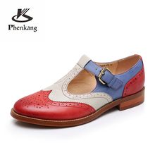 Genuine leather brogues designer yinzo vintage flats shoes handmade green red yellow oxford shoes for women 2018 spring summer genuine leather designer brogues vintage yinzo flats shoes handmade oxford shoes for women 2018 spring red brown beige