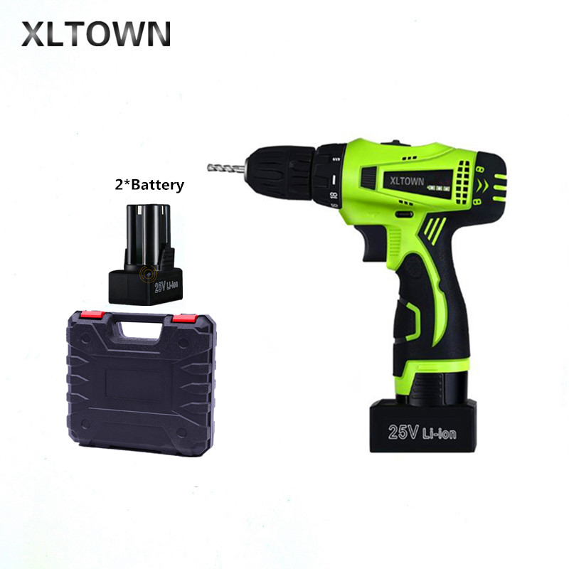 Xltown 25v two-speed rechargeable lithium battery electric screwdriver with 2 battery Plastic box packaging Electricscrewdriver xltown 25v two speed 2 battery lithium battery electric screwdriver with a plastic box packaging 27pcs drill bit electric drill