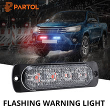 Partol 4 LED Car Strobe Flash Warning Light Flashing Firemen Police Fog LED Emergency lights Truck Front Grille Auto Roof Lamp(China)