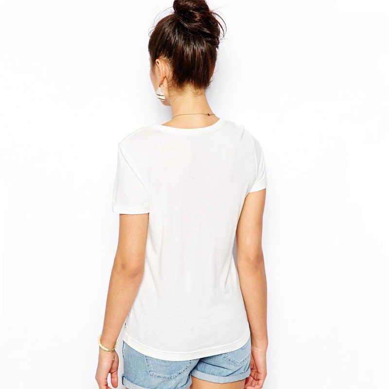 LUSLOS Tamponando Unicorno Camicia di Estate Delle Donne Manica Corta In Cotone Bianco Mescolato T Shirt Femme Super Soft Magliette Magliette e camicette Per La Femmina