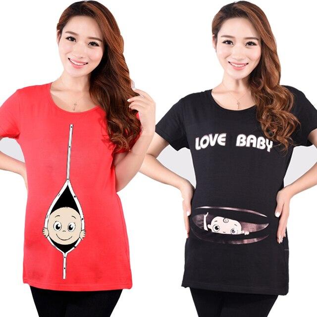 1f9414416 Moda de maternidad embarazada camisetas ropa Casual embarazo para mujeres  embarazadas ropa Gravida algodón Vestidos de