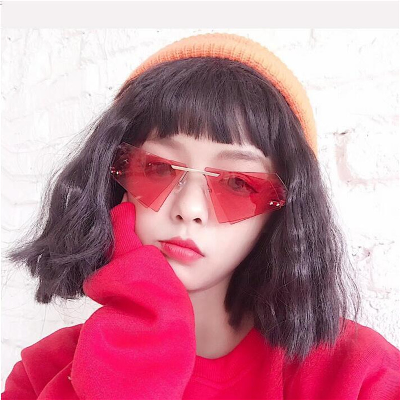 CHUN Brand designer vintage triangle sunglasses with red lenses metal yellow pink rimless sun glasses women female uv400 J71