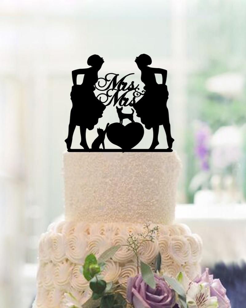 Mrs & Mrs Cake Toppers För Bröllop Mariage Acrylic Personalized - Semester och fester