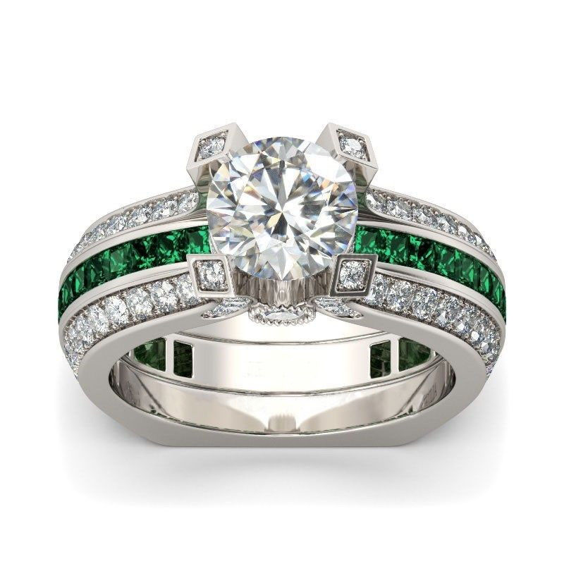 Hainon Luxury Female Ring Sets Silver Color Filled Jewelry Vintage promise Rings For Women Green Zircon Wedding Engagement Rings