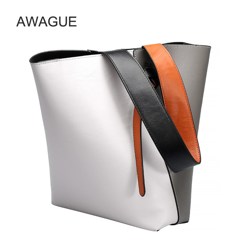 AWAGUE Fashion Genuine Leather Bags for Women Handbags Shoulder Bags Ladies Tote Bags Bucket Bags 2016 fashion design straw knitting women shoulder bags beach bags women scarf tote handbags for ladies summer tote bags t400