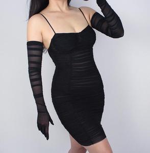 Image 4 - Vrouwen Mode Gevouwen Wit Zwart Kleur Lange Mesh Handschoen Vrouwelijke Sexy Elegante Vintage Touchscreen Lange Zonnebrandcrème Handschoen R731