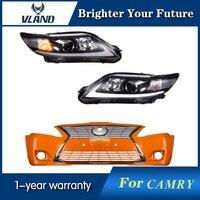 Светодиодные фары и Неокрашенный бампер и хромированная решетка для Toyota Camry 2007 2008 2009 2010 2011
