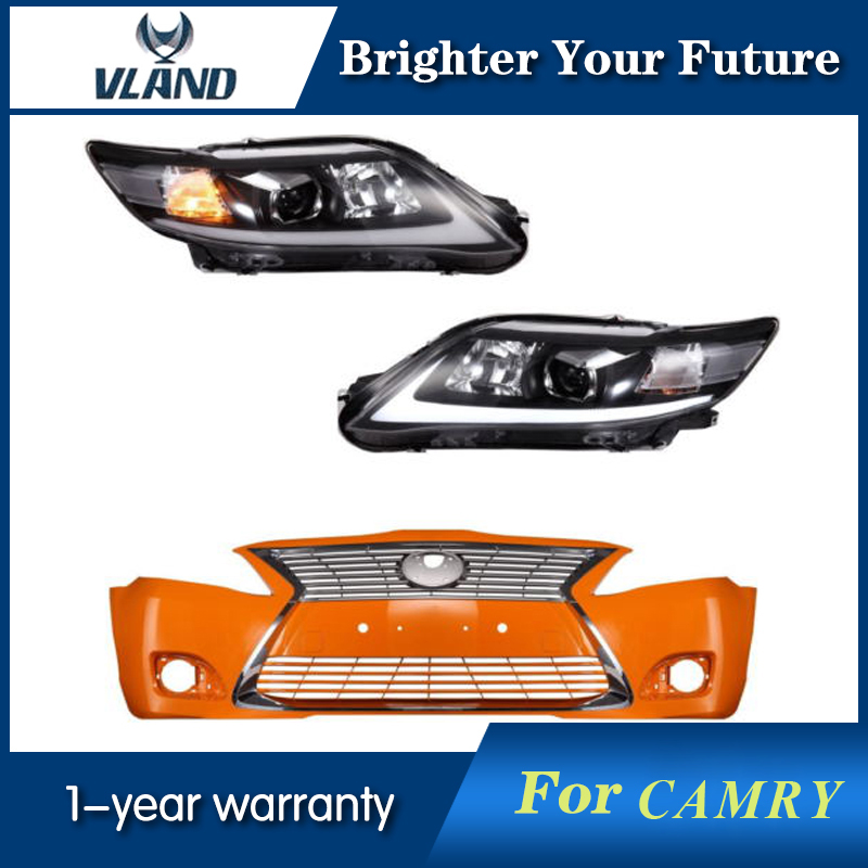 LED Headlights & Unpainted Bumper & Chrome Grille For Toyota Camry 2007 2008 2009 2010 2011